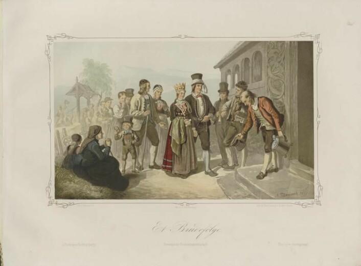 Illustrasjon av et brudefølge, hentet fra boka Norske Folkelivsbilleder av Adolph Tidemand. Boka ble gitt ut i 1854.  (Foto: Wikimedia Commons/Nasjonalbiblioteket)