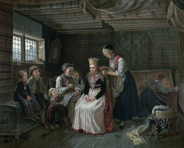 Denne illustrasjonen av Adolph Tidemand viser den omfattende prosessen bruden skulle gjennom før hun var klar til vielsen.  (Foto: Wikimedia Commons/Nasjonalbiblioteket)