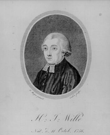 Portrett av hans Jacob Wille (1756 - 1808). Wille reiste blant annet rundt og kartla Seljords geografiske, fysiske, økonomiske og politiske forhold. Beskrivelsene, Sillejords Præstegield, ble utgitt i 1786.  (Arkivfoto: Wikimedia Commons/NTNU Universitetsbiblioteket.)
