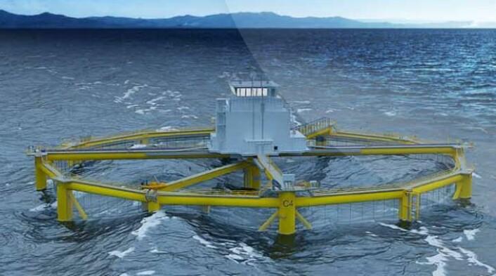 Salmar på Frøya ble nevnt da Siv Jensen holdt om statsbudsjettet som et eksempel på en bedrift som har brukt teknisk kompetanse fra offshore oljeteknologi til nyvinning fiskeoppdrettsnæringen. Bildet er fra et havbasert oppdrettsanlegg datterbedriften Ocean Farming har forsket fram med støtte fra Innovasjon Norge.   (Foto: (Skjermdump: Ocean Farming AS))