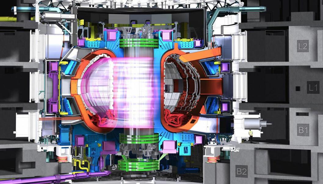Fusjonskraft er den endelige løsningen på menneskenes energiproblemer – hvis den blir virkelighet. Nå kan den bli billigere med nye superledende magneter som kan kjøres ved høyere temperaturer. De kan også bygges i deler og enklere demonteres for vedlikehold, ifølge en ny studie fra det britiske Durham University. Figuren viser beholderen som holder hydrogengassen på plass med kraftige magnetfelt, slik at trykk og temperatur blir høye nok til kjernereaksjonene. (Figur: ITER organization)
