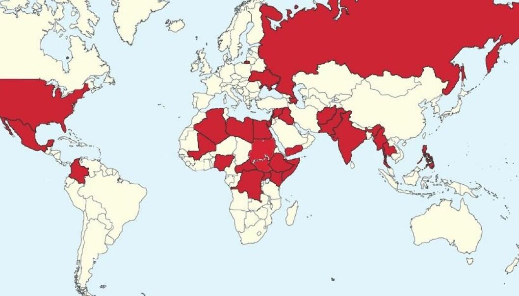 I disse landene ble mennesker drept i 2014 som et resultat av organisert vold.  (Bilde: Fra UCDP/Uppsala universitet sin konfliktdatabase.)
