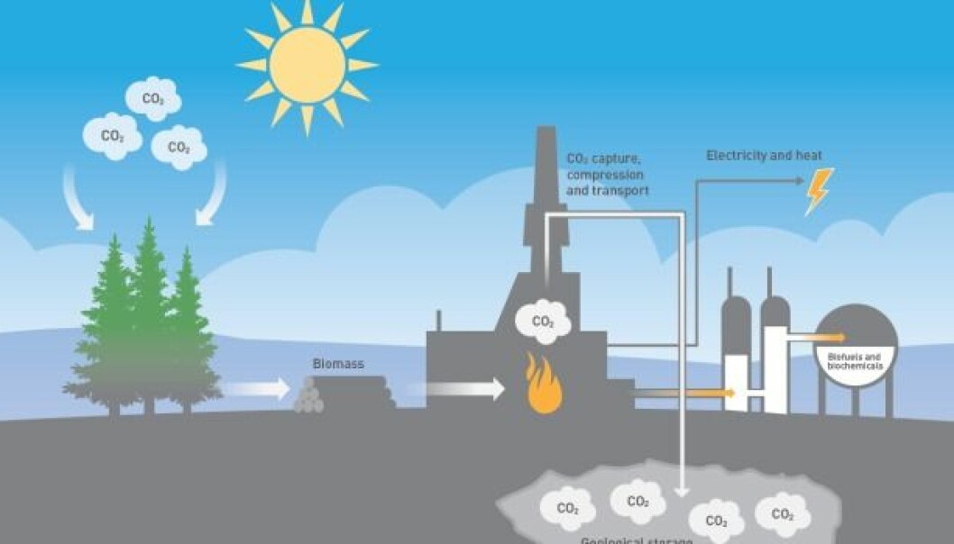 If we capture, transport and deposit the carbon dioxide that is liberated when biomass is burned, and store it permanently in the ground, we can actually remove carbon dioxide from the atmosphere. (Illustration: Doghouse.no)
