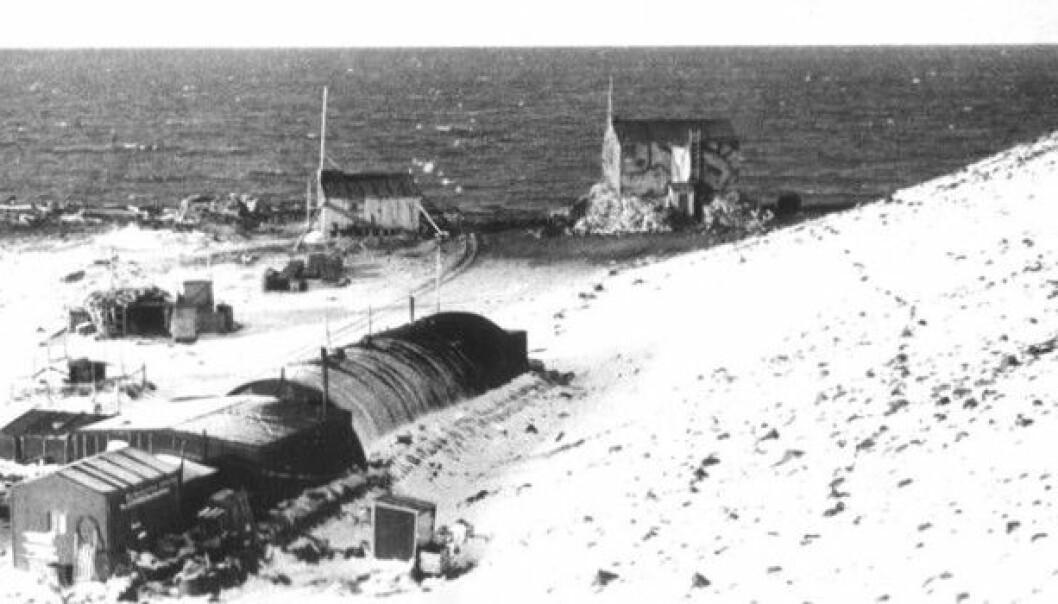 Atlantic City was an American military base on Jan Mayen during the Second World War. This image was taken in 1946 or 1947 by Odd Gjeruldsen. It hangs on the wall at the meteorological station on Jan Mayen. (Photo: Odd Gjeruldsen)