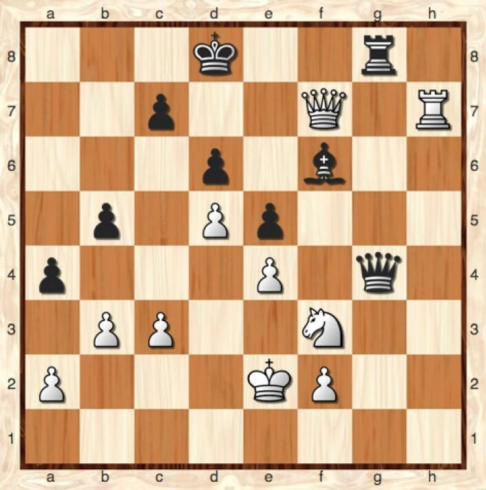 Det er ytterst menneskelig å spille 35 Dxf6  her, slik jeg gjorde. Men datamaskinen anbefaler altså 35 Dxc7  med matt i åtte trekk. (Bilde: Lillestrøm Sjakklubb)