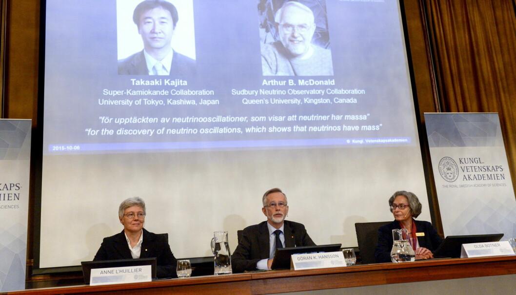 Tirsdag ble det offentliggjort at Takaaki Kajita (Japan) og Arthur B. McDonald (Canada) skal dele årets nobelpris i fysikk. (Foto: TT News Agency, Reuters)