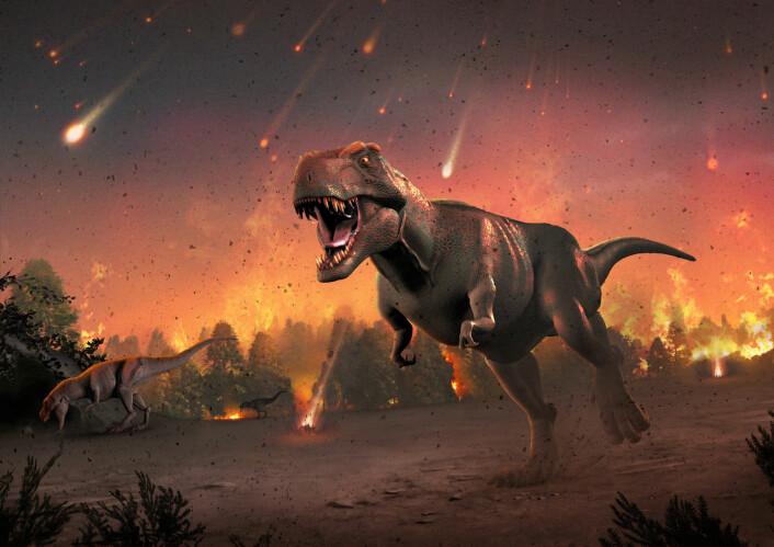 Et høydramatisk bilde som viser hvordan det KAN ha sett ut da en Tyrannosaurus Rex var så uheldig å være i live da asteroiden slo ned.  (Foto: (Illustrasjon: Science Photo Library))