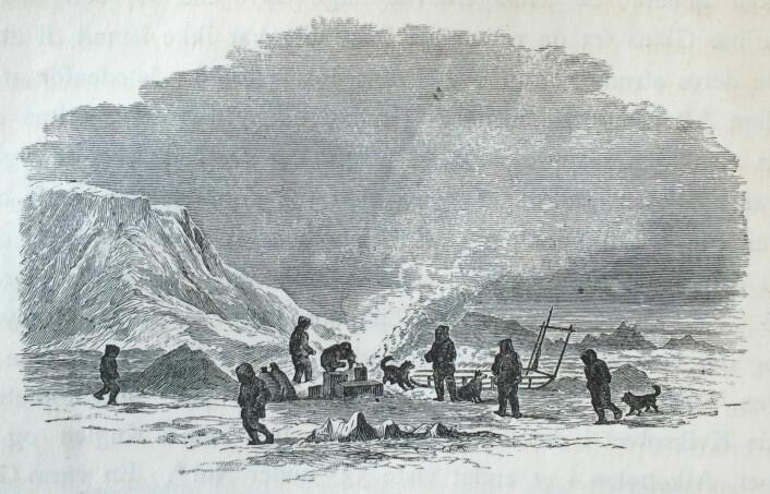 """""""Snesmeltning under Rast"""". Under den første sledereisen på Frans Josefs land. Payer 1877, s. 230. (Foto: (tegning: Julius Payer))"""