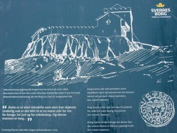 The possible appearance of the castle in 1197. Information plaque from the site. (Photo: NIKU)