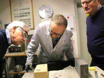 Otto Lohne, Pål Ulseth and Helge Karlgård study the results. (Photo: Idun Haugan, NTNU)