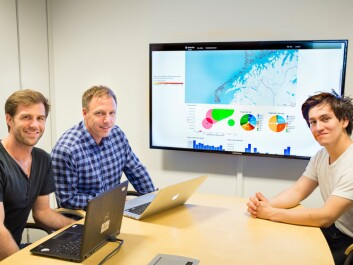 The SINTEF-researchers Ståle Walderhaug, Peter Haro and Jarle Ladstein are working with the screen displaying maps, colourful graphs and columns of numbers. (Photo: Thor Nielsen)