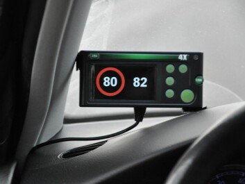 This is how the system appears to the driver. The 81 – 84 km/h range in an 80 km/h zone displays a flashing speed limit symbol. Beyond 84 km/h, an auditory signal is added to the flashing display. (Photo: SINTEF)