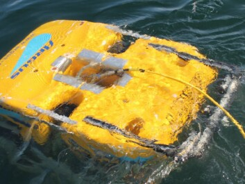 This ROV is being trained to inspect net pens below the water surface. (Photo: Sintef)