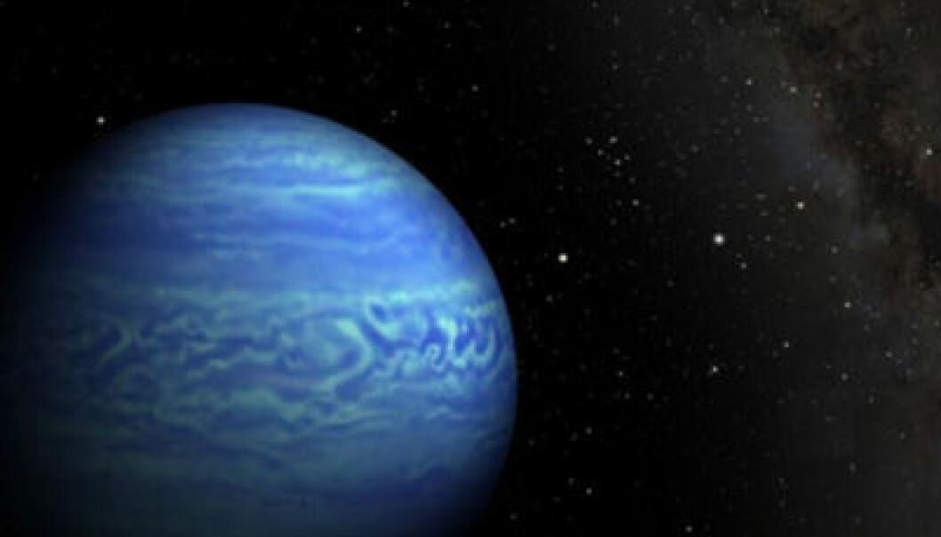 Den brune dvergstjerna med det upoetiske navnet  WISE J085510.83-071442.5 er 7,2 lysår fra jorda, og dermed en av våre nærmeste stjernenaboer. Massen er tre til ti ganger massen til planeten Jupiter, og temperaturen på overflaten mellom -13 og -48 grader C. (Illustrasjon: Penn State University/NASA/JPL-Caltech)