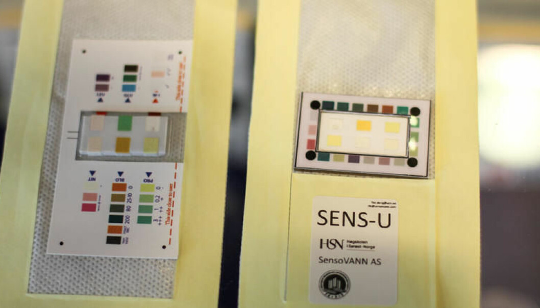 The diaper liner SENS-U also contains a colorchart. Results can be read manually, og scanned with a mobile-app. (Photo: An-Magritt Larsen, USN)