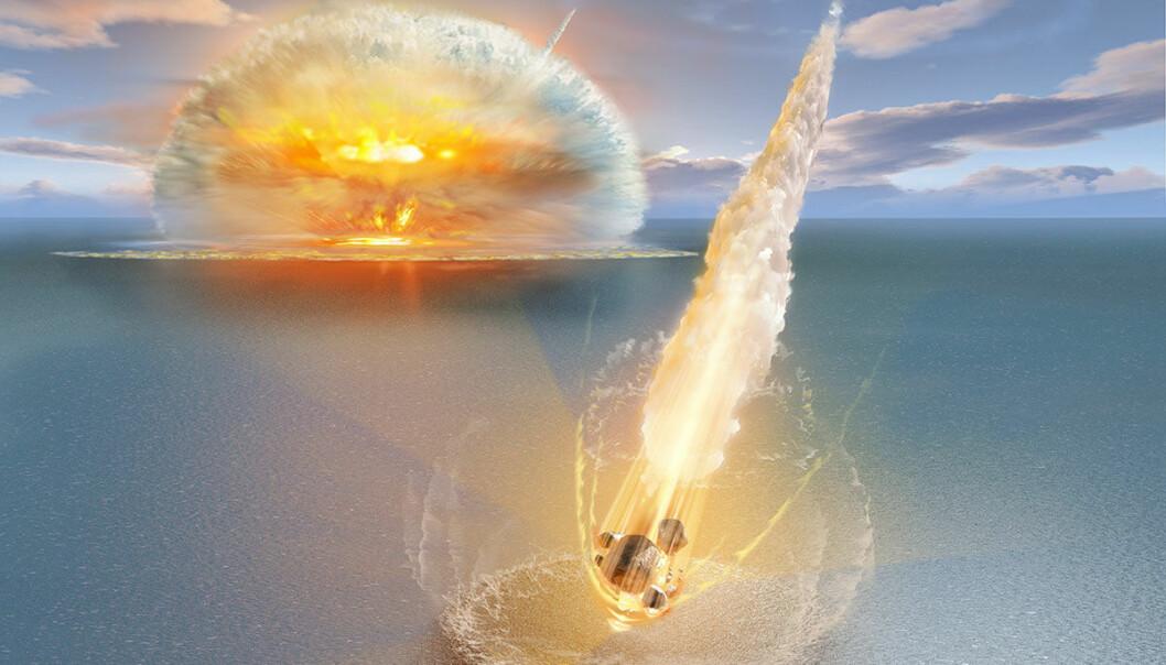 Slik kan asteroidenedslagene ha sett ut. (Illustrasjon: Don Dixon, copyright Erik Sturkell)