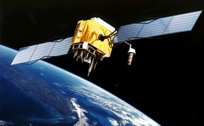 GPS-satellitt på jobb, avbildet i sitt naturlige miljø, 20 180 kilometer over jorda. De andre 30 satellittene er ikke synlige i bildet. De er for langt unna. Men de er der. Ett sted ute i ensomheten, fordelt på seks forskjellige baner, i trygg avstand fra hverandre. (Foto: (Illustrasjon: NASA))