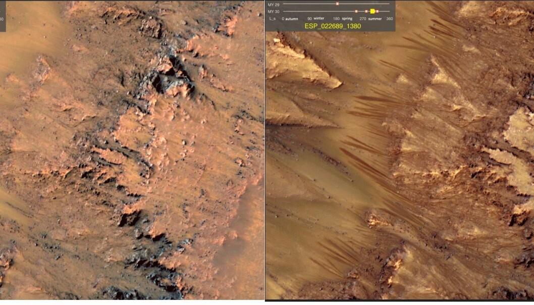 Disse linjene har man lenge trodd kan komme av veldig salt, flytende vann på Mars. Bildet til venstre er fra den kalde tiden på året, mens bildet til høyre er tatt i den marsiske sommeren. Nå tror forskere at de kan bekrefte at det faktisk er snakk om flytende, svært salt vann. Bildene er fra Newton-krateret på Mars, og ble tatt i 2011. (Foto: NASA)