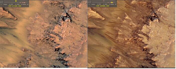 Disse linjene har man lenge trodd kan komme av veldig salt, flytende vann på Mars. Bildet til venstre er fra den kalde tiden på året, mens bildet til høyre er tatt i den marsiske sommeren. Bildene er fra Newton-krateret på Mars. (Foto: NASA)