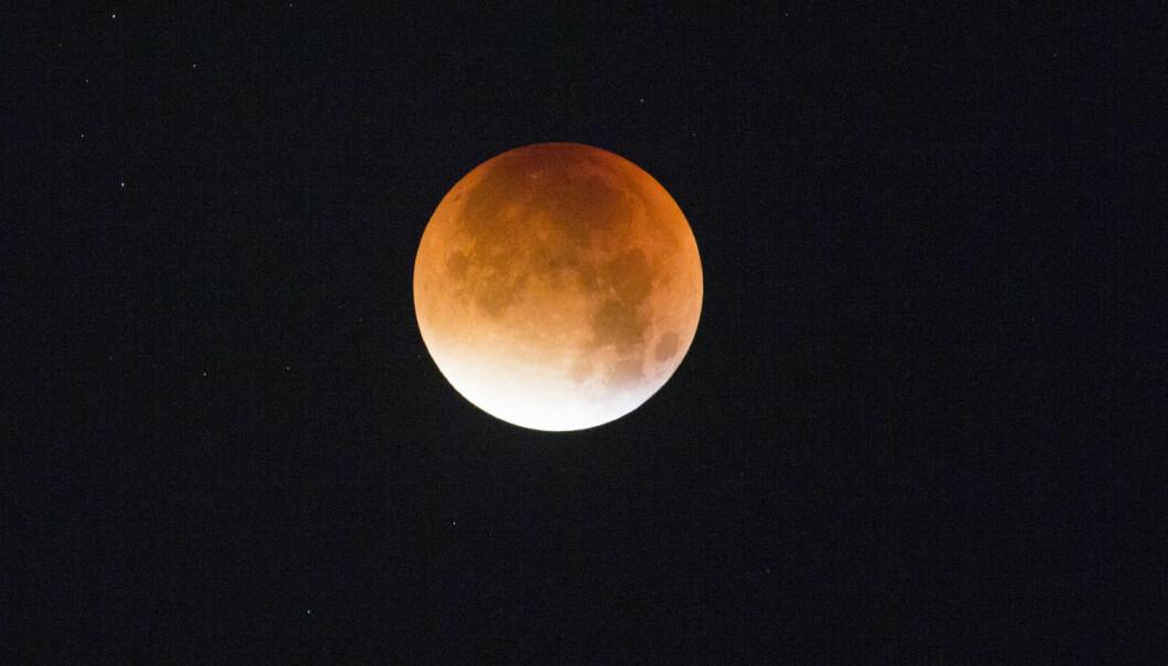 Supermåne og total måneformørkelse sett fra Oslo natt til mandag.  (Foto: Stian Lysberg Solum, NTB scanpix)