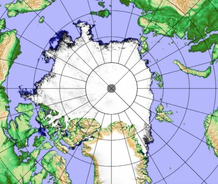 Sjøisen i Arktis ved ukeslutt. (Bilde: JAXA / PolarView-Univ Bremen)