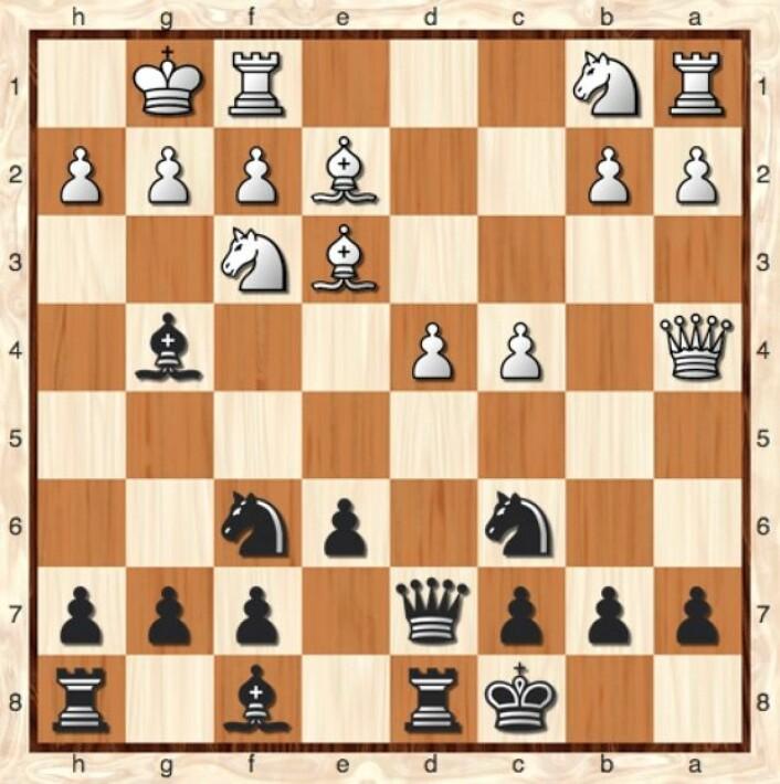 Hvit har nettopp flyttet dronningen til feltet a4. Hva ville du gjort med svarte brikker her? (Bilde: Lillestrøm Sjakklubb)