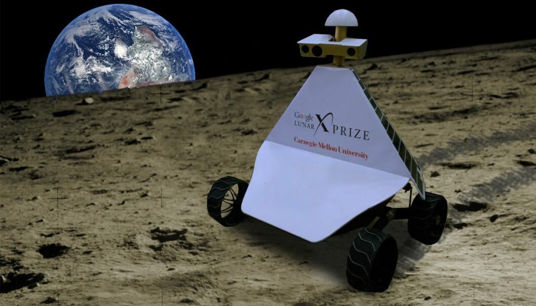 Månebilen Andy fra det amerikanske firmaet Astrobotics ligner litt på renovasjonsroboten Wall-E fra Disney-filmen av samme navn. Den skal etter planen sendes til månen i en Falcon-9-rakett fra SpaceX høsten 2016. På samme ferd følger to japanske månebiler, Moonraker og Tetris. Den bilen som først har tilbakelagt en halv kilometer og overført bilder og høyoppløselig video til jorda, har vunnet Google Lunar XPrize på 30 millioner dollar. (Bildemontasje: 90.5 WESA/Wikimedia Commons, Creative Commons Attribution-Share Alike 2.0 Generic license/NASA. Montasjen er laget av forskning.no)