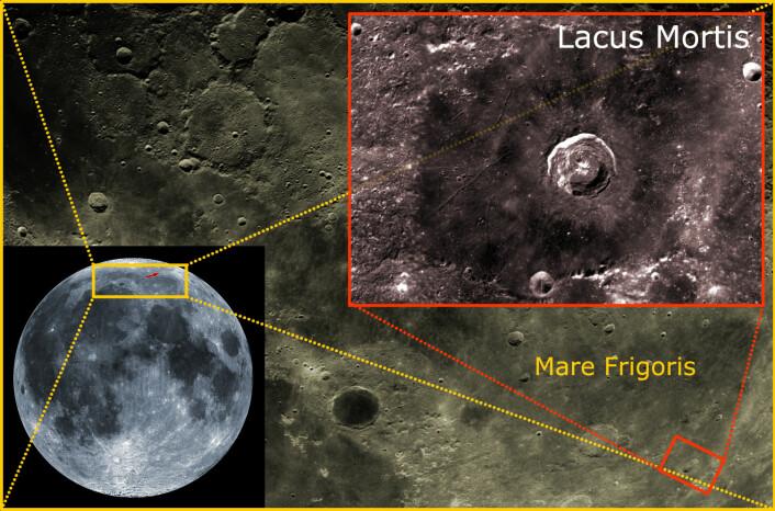 Lacus Mortis ligger nær månens sydpol. Her skal etter planen månelanderen Griffin fra det amerikanske firmaet Astrobotics lande høsten 2016, og landsette tre månebiler som vil konkurrere om Google Lunar XPrize på 30 millioner dollar. (Foto: (Bildemontasje: Arnfinn Christensen, forskning.no, basert på bilder av månen fra NASA))