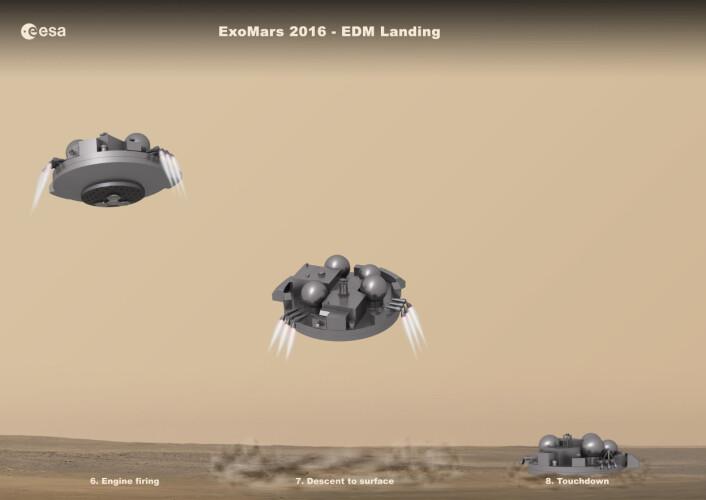 Landingsplattformen til Schiaparelli som skal teste ut ny teknologi for landing på Mars. Schiaparelli er en del av ExoMars 2016.  (Foto: ESA)