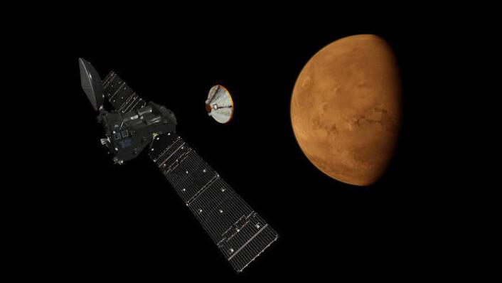 Landingsmodulen Schiaparelli (t.h.) settes fri fra Trace Gas Orbiter ved Mars i oktober 2016. Tilsammen utgjør de to romsondene det europeisk-russiske prosjektet ExoMars 2016. (Foto: ESA)
