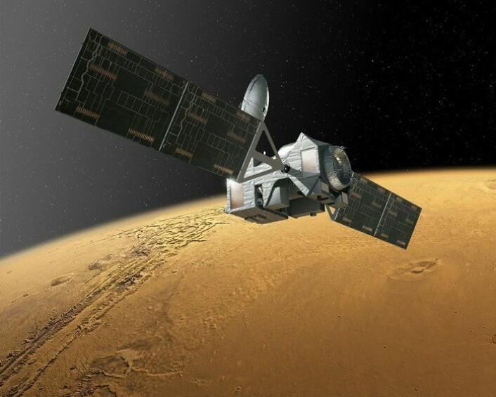 Trace Gas Orbiter skal undersøke atmosfæren på Mars og blant annet finne ut om metanet der skyldes biologisk eller geologisk aktivitet. Romsonden er en del av ExoMars 2016. (Foto: ESA)
