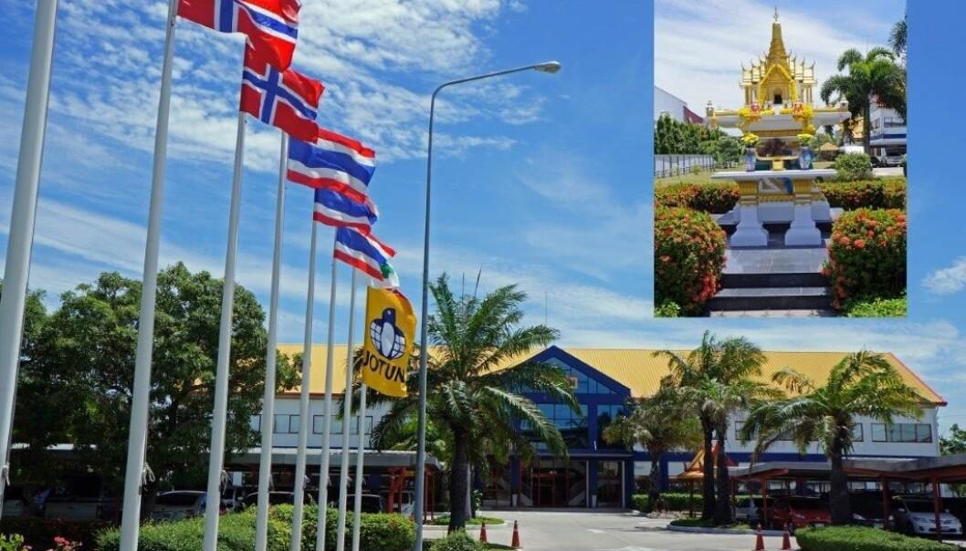 Jotun var blant de tre skandinaviske selskapene som var best likt av utenlandske mellomledere i en studie gjennomført I Bangkok. De bygget et tempel utenfor fabrikken i Thailand etter ønske fra arbeiderne, forteller kommunikasjonsdirektør Sverre M. Knudsen.  (Foto: Jotun)