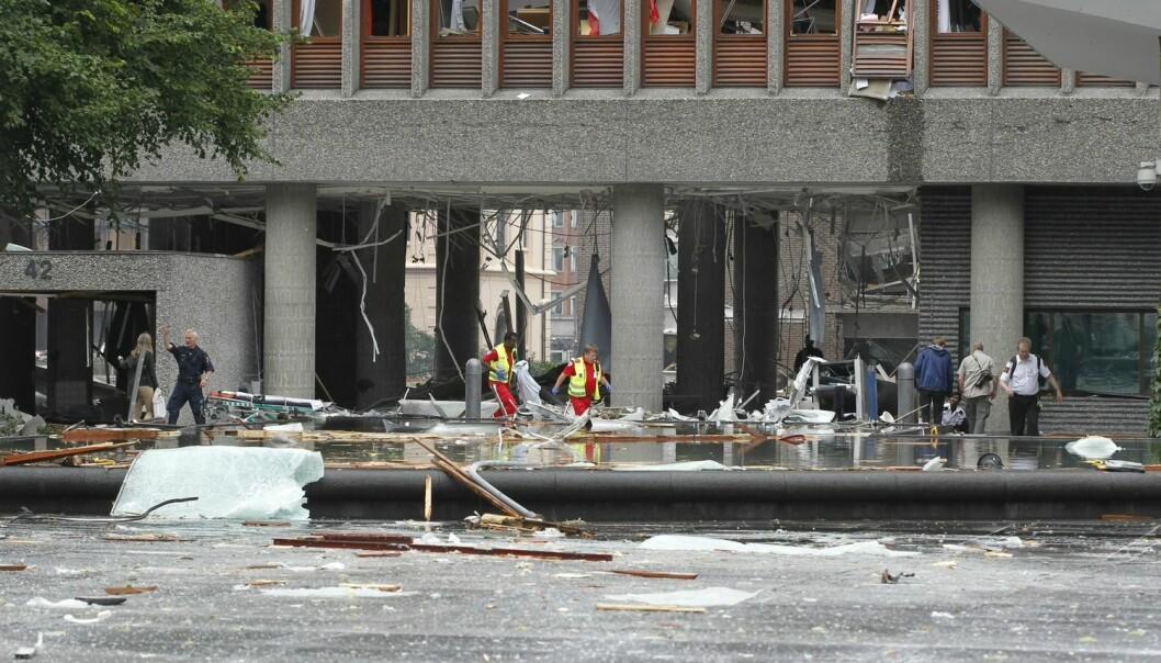 Bomben i Regjeringskvartalet gikk av en fredag ettermiddag midt på sommeren. Mange av de ansatte var ikke på jobb da terroren rammet, men flere av dem har likevel liknende PTSD-symptomer som personene som var der. (Foto: Berit Roald, NTB scanpix)