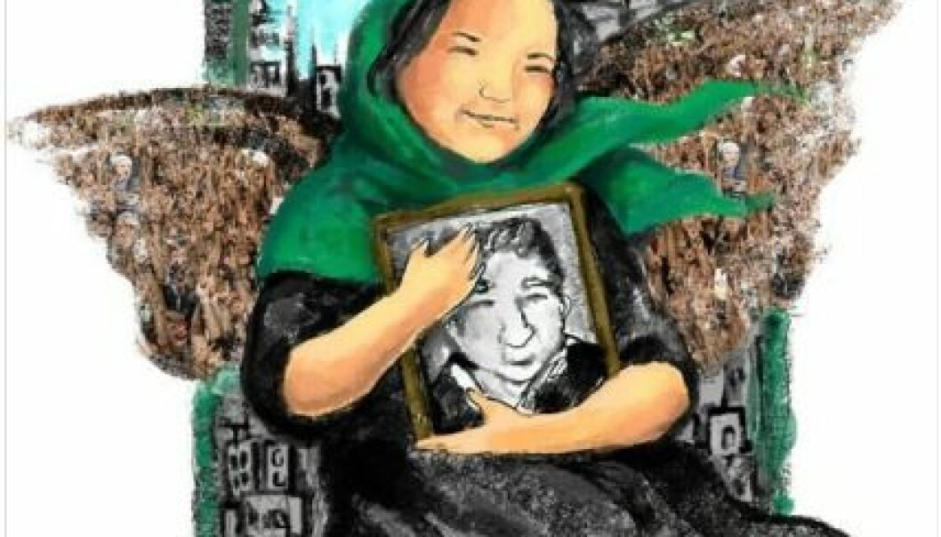 """The human rights activist Haleh Sahabi is depicted as a martyr. The drawing is used as a profile photo on the Facebook group """"We are All Haleh Sahabi""""."""