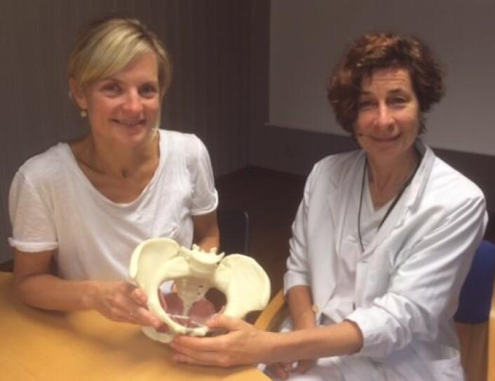Jette Elisabeth Stær-Jensen (til venstre) og Marie Ellström Engh har studert bekkenbunnen, en av de viktigste musklene i kvinnekroppen.  (Foto: Ahus)