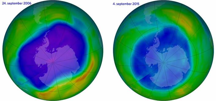 Bildetekst: Til høyre ser vi ozonhullet over Antarktis slik det var på sitt største, 24. september 2006. Til venstre ser vi ozonlaget slik det så ut 4. september i år. De lilla og blå feltene er der det er minst ozon. (Foto: (Illustrasjon: NASA Ozone Watch))