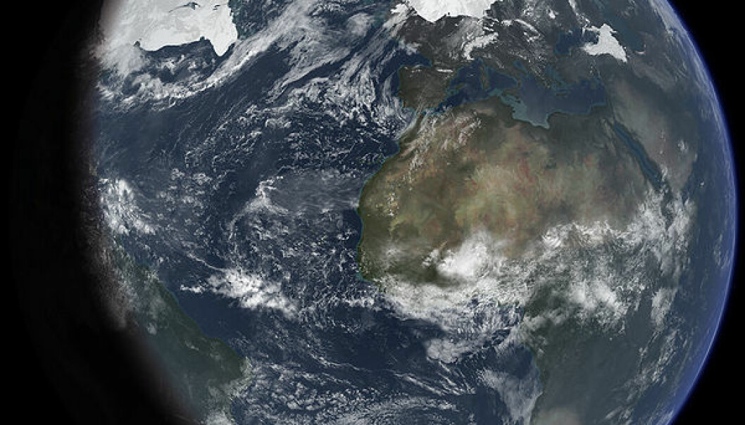 An artist's impression of ice age Earth at glacial maximum. Based on: