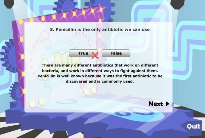 Det interaktive læringsspillet e-Bug har blitt brukt i mange europeiske land som sliter med antibiotikaresistens. Nå kommer det til Norge. Barn og unge må lære seg at antibiotika blir et begrenset gode i framtiden, mener forskere.  (Foto: e-Bug)