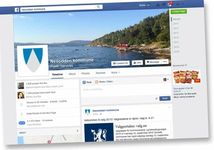 Både administrasjonen og ordføreren i Nesodden kommune bruker Facebook for å holde kontakten med befolkningen, finne ut hva de lurer på og fange opp ideer til saker som seinere kan behandles politisk. (Foto: (Skjermdump: forskning.no))