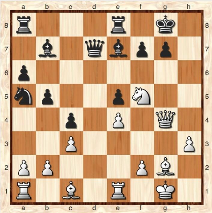 Min motstander ga opp etter 21 Dxg4. Svart blir enten sjakk matt i mitt neste trekk, eller mister dronningen sin. (Bilde: Lillestrøm Sjakklubb)