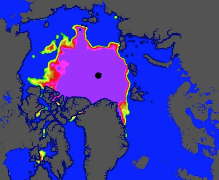 Sjøisens utbredelse i nord lørdag 12. september. (Bilde: EUMETSAT osisaf.met.no)