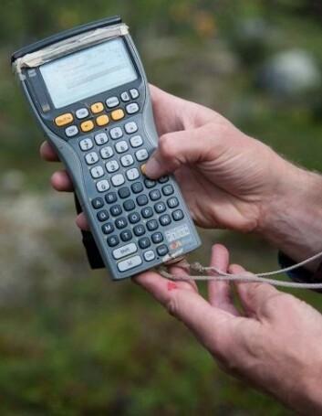 Felt-PC der alle måledata registreres. (Foto: Lars Sandved Dalen, Nibio)