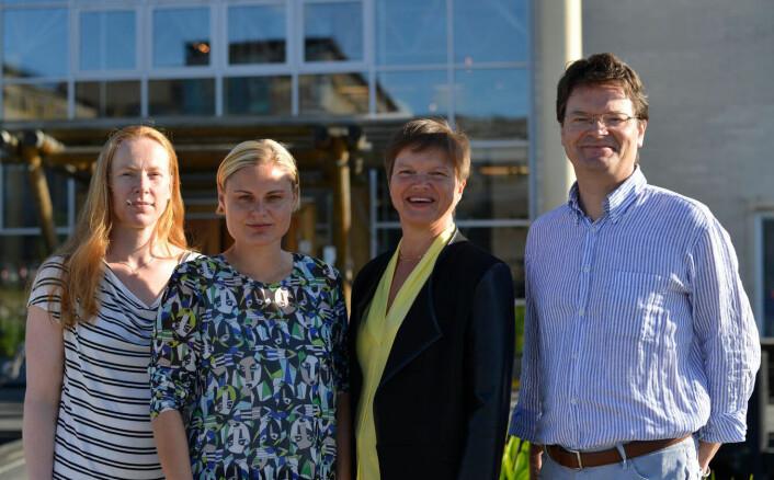 Forskerne bak studien. Fra venstre: Maria Fossheim, Susanne Kortsch, Michaela Aschan og Raul Primicerio. (Foto: Ørjan Garfjell)
