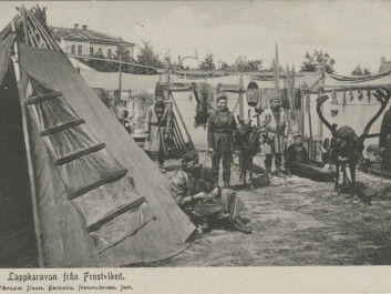 """""""Travelling cultural outreach: Sami men from Frostviken (individuals unknown)."""" (Photo: Tromsø Museum)"""