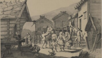 «Udvandring», illustrasjon etter et maleri av Adolph Tidemand til <em>Norge fremstillet i Tegninger</em> utgitt 1848, viser et reisefølge av norske utvandrere som tar avskjed i hjembygda tidlig på 1800-tallet. (Kilde: Nasjonalbiblioteket)