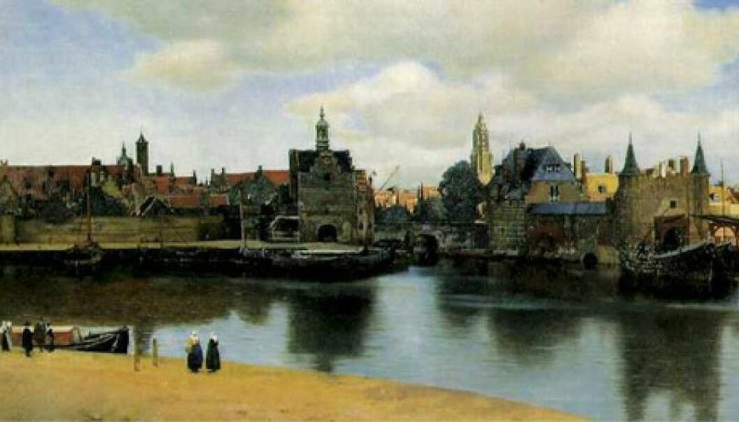 Slik kan det ha sett ut da de norske kvinnene kom til Nederland på 1600-tallet. Parti fra Delft malt av Johannes Vermeer.