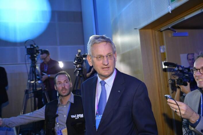 Den tidligere svenske statsministeren Carl Bildt uttaler seg sjelden til pressen, men er aktiv på Twitter.  ( Foto: Henrik Montgomery, TT/NTB scanpix)