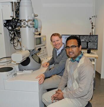 Tor Paaske Utheim og Rakibul Islam ved Institutt for oral biologi ved UiO forsker på hvordan en kan kurere noen former for blindhet med et globalt perspektiv. (Foto: Per Gran, Det odontologiske fakultet, UiO)