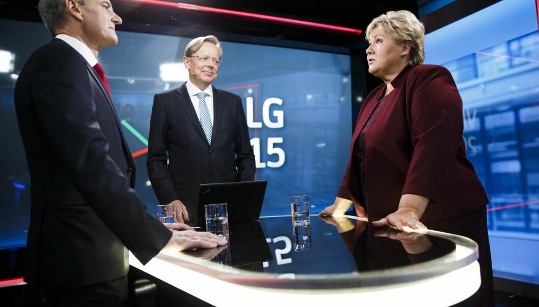 Valgkampens hovedmotstandere Ap-leder Jonas Gahr Støre og statsminister Erna Solberg (H) er uenige om det meste og tyr gjerne «forskning viser»-argumenter for å bygge opp under egne argumenter.  (Foto: Berit Roald, NTB scanpix)