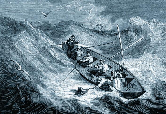 Omgitt av vann, men i fare for å tøste ihjel: En livbåt i storm på begynnelsen av 1800-tallet. (Foto: (Illustrasjon: Mary Evans Picture))